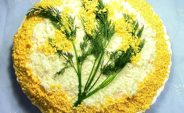 Салаты мимоза рецепт с плавленным сыром с фото