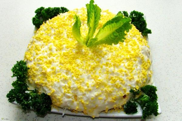 Салат мимоза рецепт с консервой классический с фото