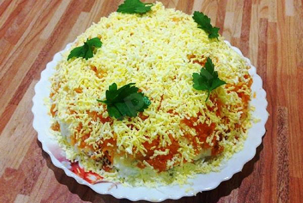 Салат мимоза с сайрой классический рецепт с фото с рисом