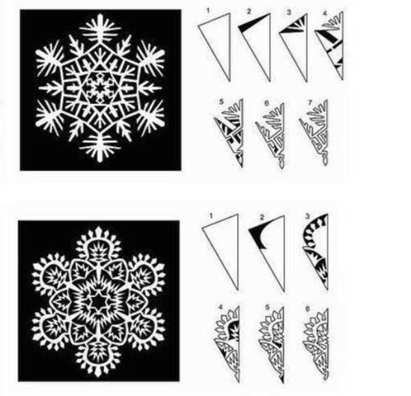 Красивые снежинки из бумаги схемы для вырезания поэтапно фото