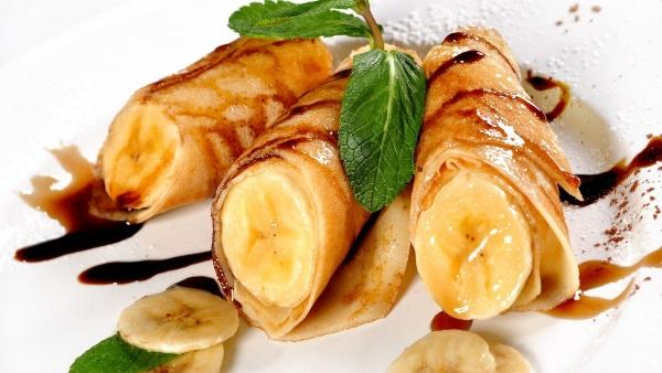Блины с банановой начинкой рецепт с фото