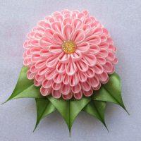 цветы из атласных лент фото 21