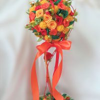 цветы из атласных лент фото 33