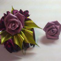 цветы из атласных лент фото 39