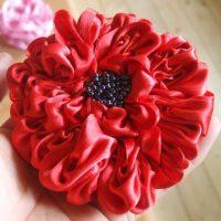 цветы из атласных лент фото 50