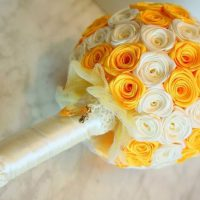 цветы из атласных лент фото 55