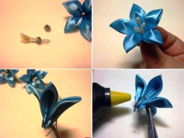 цветы из атласных лент фото 8