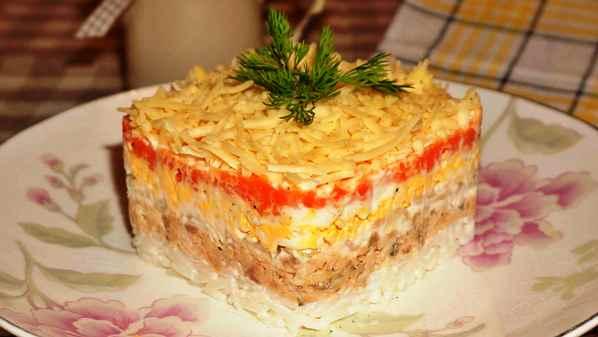 Салат мимоза с горбушей классический рецепт с фото с маслом