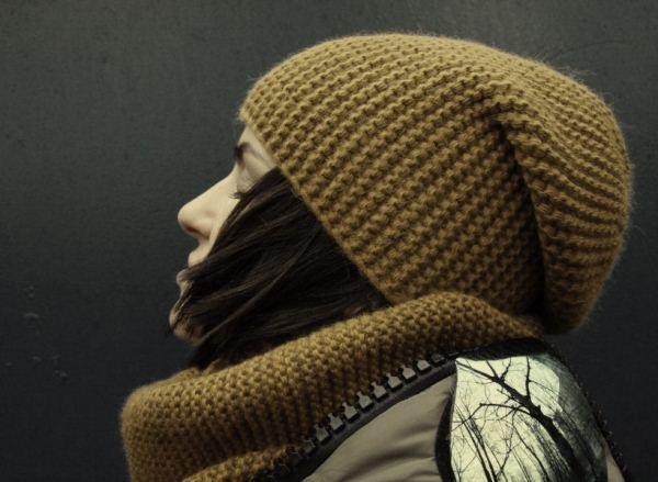 шапка бини спицами фото
