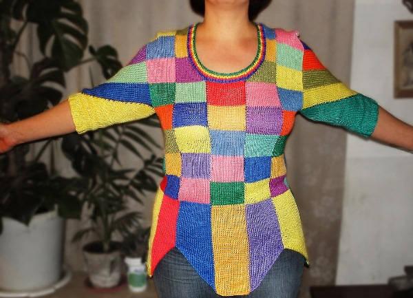 вязание спицами в стиле пэчворк фото 11