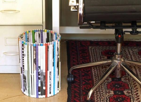 корзина из газетных трубочек фото 3
