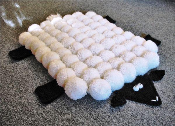 коврик из помпонов своими руками фото 10