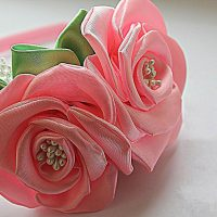 цветы из атласных лент фото 24