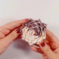 цветы из атласных лент фото 25