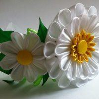 цветы из атласных лент фото 29