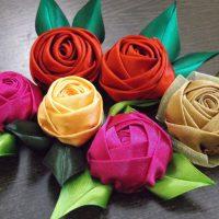 цветы из атласных лент фото 40