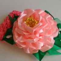 цветы из атласных лент фото 41