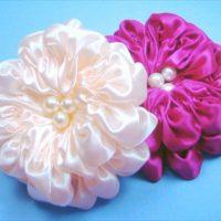 цветы из атласных лент фото 42