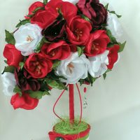 цветы из атласных лент фото 46