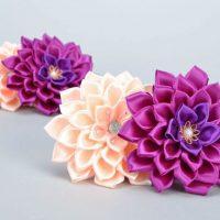 цветы из атласных лент фото 49